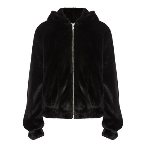 Hooded Faux Fur Bomber Jacket, ${color}