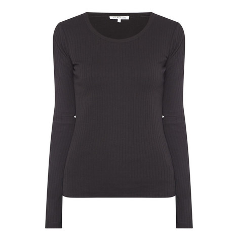 Long Sleeve Ribbed Top, ${color}