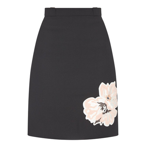 Flower Appliqué A-Line Skirt, ${color}