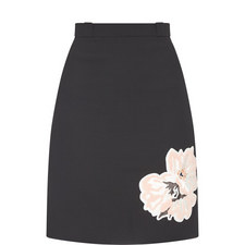 Flower Appliqué A-Line Skirt