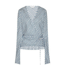 Seersucker Stripe Wrap Top