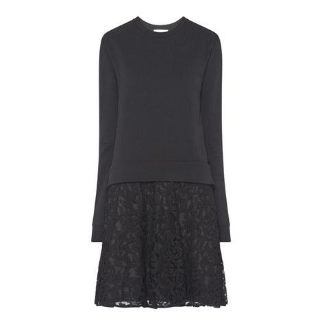 Lace Underlayer Sweatshirt Dress, ${color}