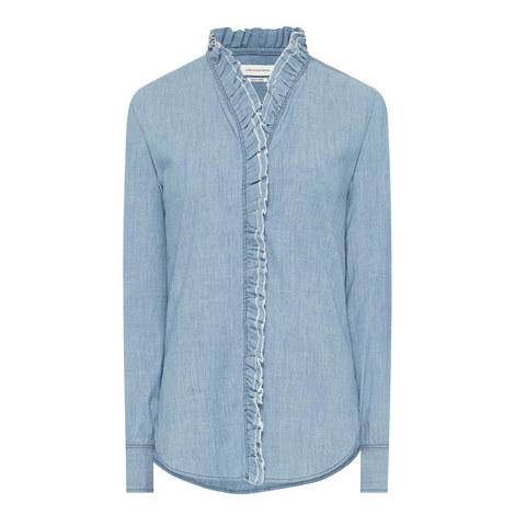 Awendy Ruffled Chambray Shirt, ${color}