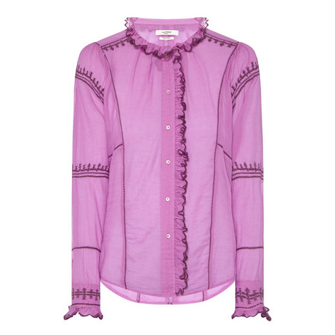 Lauryn High-Collar Blouse, ${color}