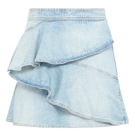 Coati Denim Ruffle Skirt, ${color}