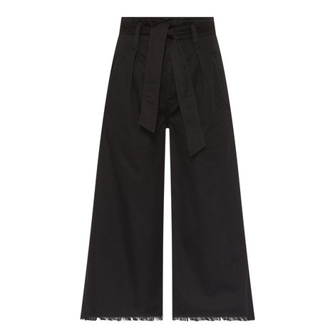 Cropped Frayed Cuff Trousers, ${color}