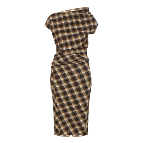 Pisa Asymmetric Check Midi Dress, ${color}