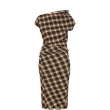 Pisa Asymmetric Check Midi Dress
