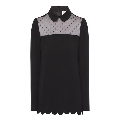 Sheer Panel Blouse, ${color}