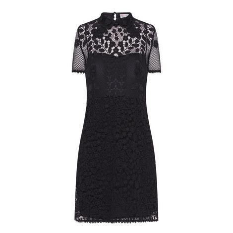Short Sleeved Lace Dress, ${color}