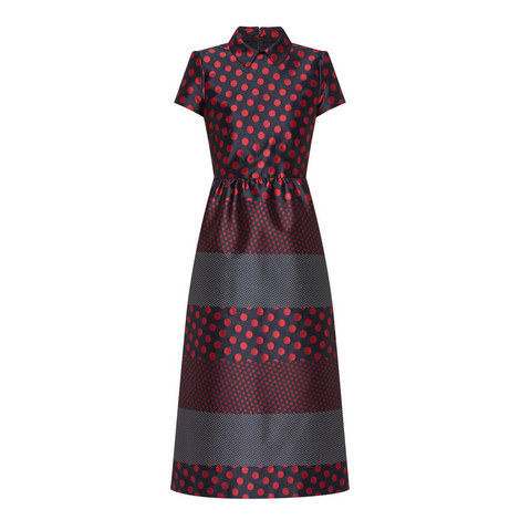 Dot Print Midi Dress, ${color}