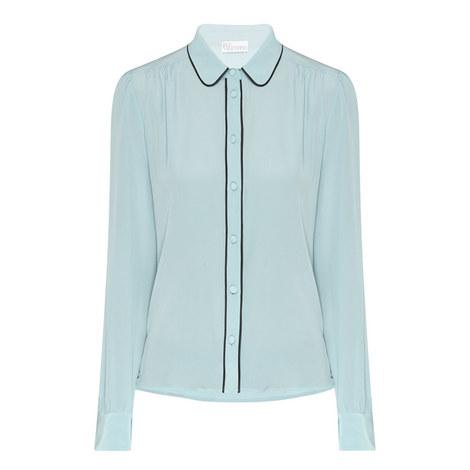 Long Sleeve Silk Blouse, ${color}
