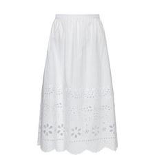 Broderie Anglaise Midi Skirt