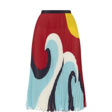 Pleated Wave Print Skirt