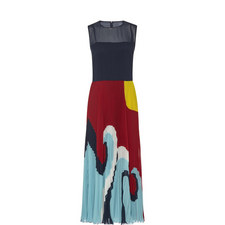Pleated Wave Print Dress