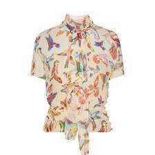 Bird Print Silk Blouse
