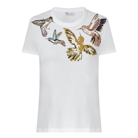 Bird Print T-Shirt , ${color}