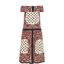 Bandana Print Off-Shoulder Dress