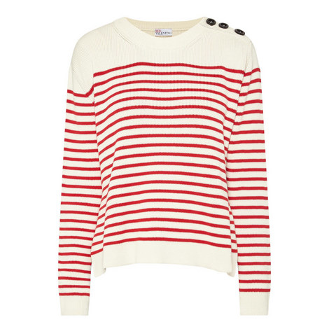 Striped Button Detail Sweater, ${color}