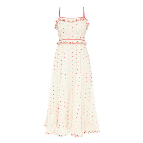 Dotted Ruffle Maxi Dress, ${color}