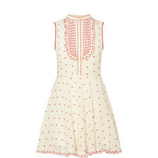 Embroidered Dot Sleeveless Dress