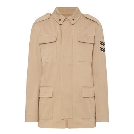 Military Floral Detail Jacket , ${color}