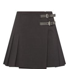 Buckle Pleated Skirt