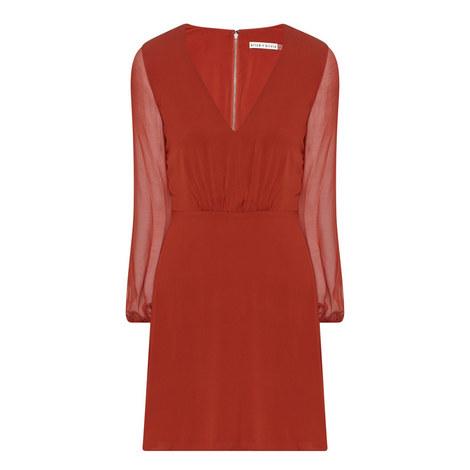 Cary V-Neck Silk Dress, ${color}