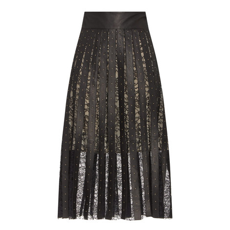 Tianna Lace And Leather Skirt, ${color}