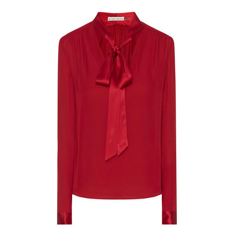 Irma Pussy Bow Silk Blouse, ${color}
