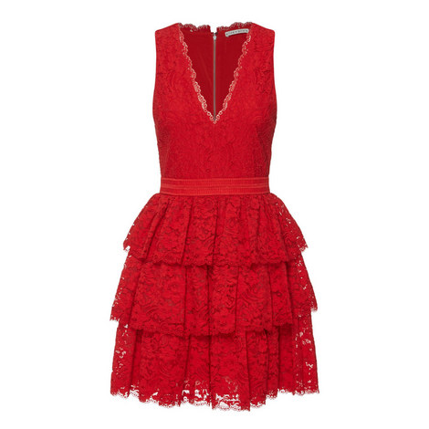 Clora Lace Ruffle Dress, ${color}