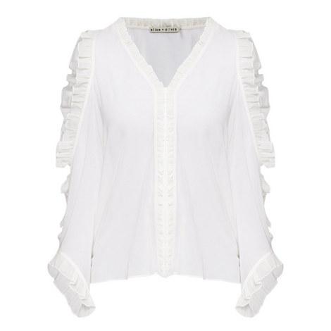 Claudette Ruffle Button-Down Blouse, ${color}