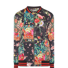 Lila Relaxed Patchwork Bomber Jacket