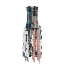 Patchwork Plaid Ruffle Dress