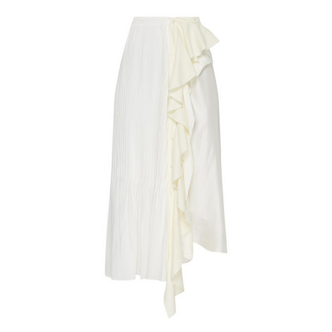 Pintuck Silk Jersey Skirt, ${color}
