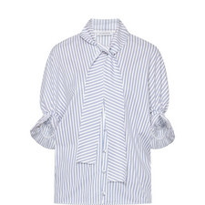 Ruched Sleeve Stripe Blouse