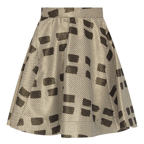Patterned Flared Skirt, ${color}