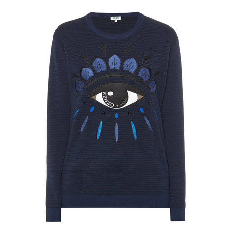 Eye Appliqué Knitted Sweater, ${color}