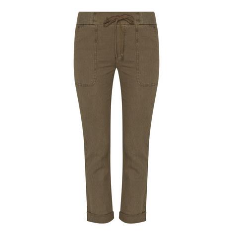 Drawstring Piqué Trousers, ${color}