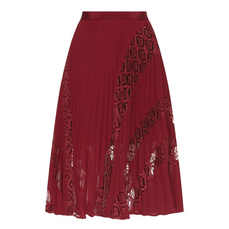 Symm Pleated Lace Midi Skirt, ${color}