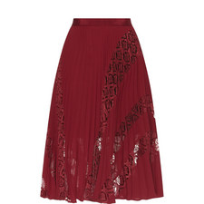 Symm Pleated Lace Midi Skirt