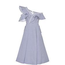 Striped Shirting Frill Dress