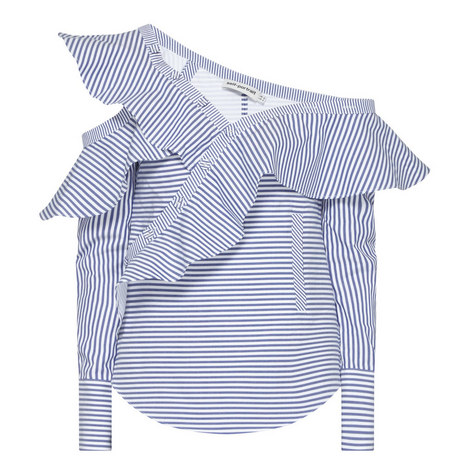 Frill Striped Drop Shoulder Shirt , ${color}