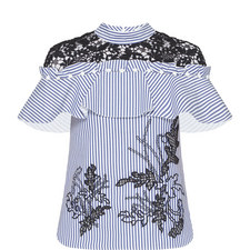 Lace Stripe Embroidered Shirt
