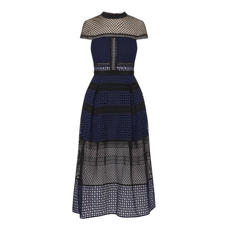 Crosshatch Panelled Midi Dress , ${color}