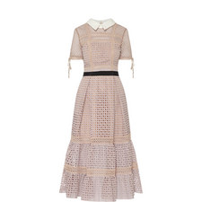 Crosshatch Tiered Midi Dress