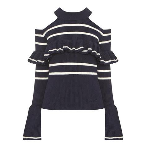 Cold-Shoulder Frill Sweater, ${color}