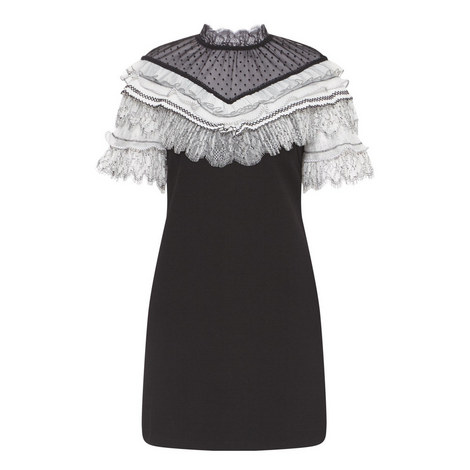 Pleated Trim Mini Dress, ${color}