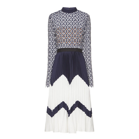 Crochet Top Contrast Dress, ${color}