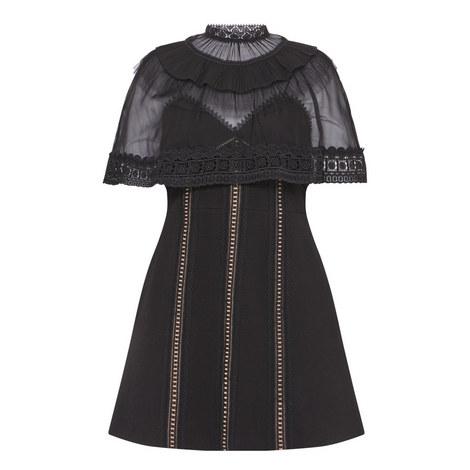 Mesh Cape Mini Dress, ${color}